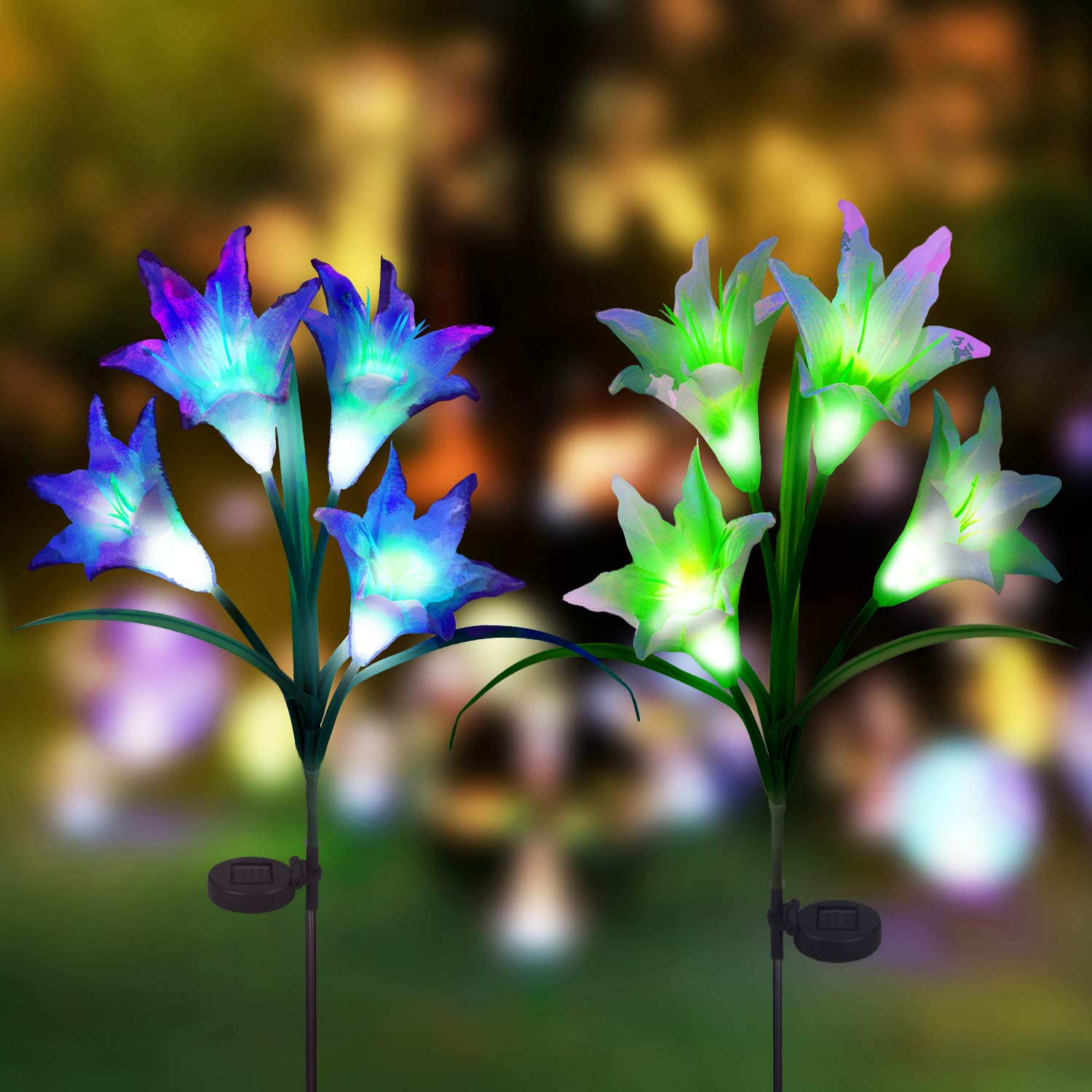 Digiroot Waterproof Outdoor Solar Garden Stake lights,2 Packs Solar Powered Decorative Light with 8 Lily Flower light,Multi-Color Changing LED Solar Path Lights for Garden,Patio,Backyad (Purple/White)
