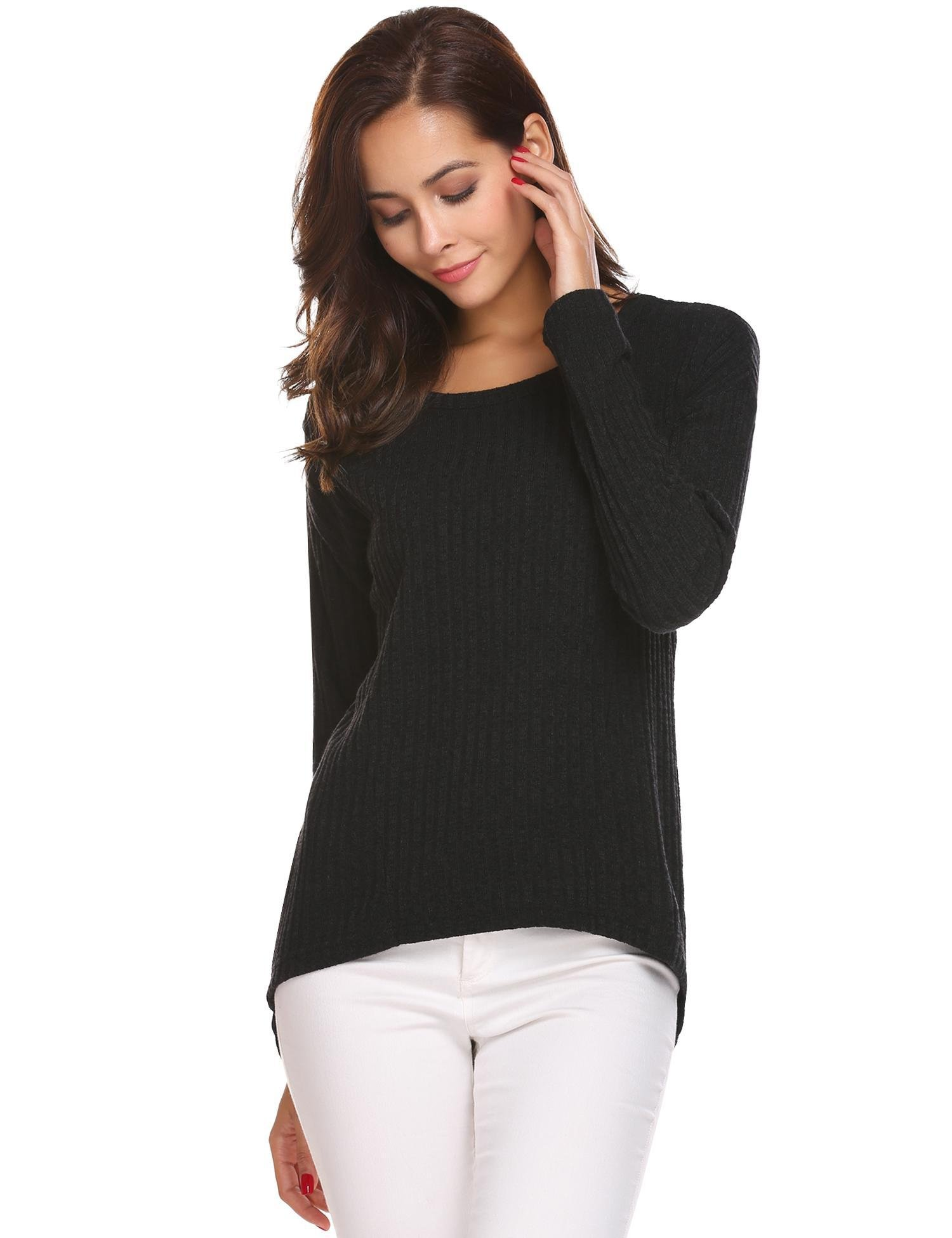 Zeagoo Womens Baggy Knitted Plain Chunky Black Pullovers Crewneck Sweater Tops 2black Medium
