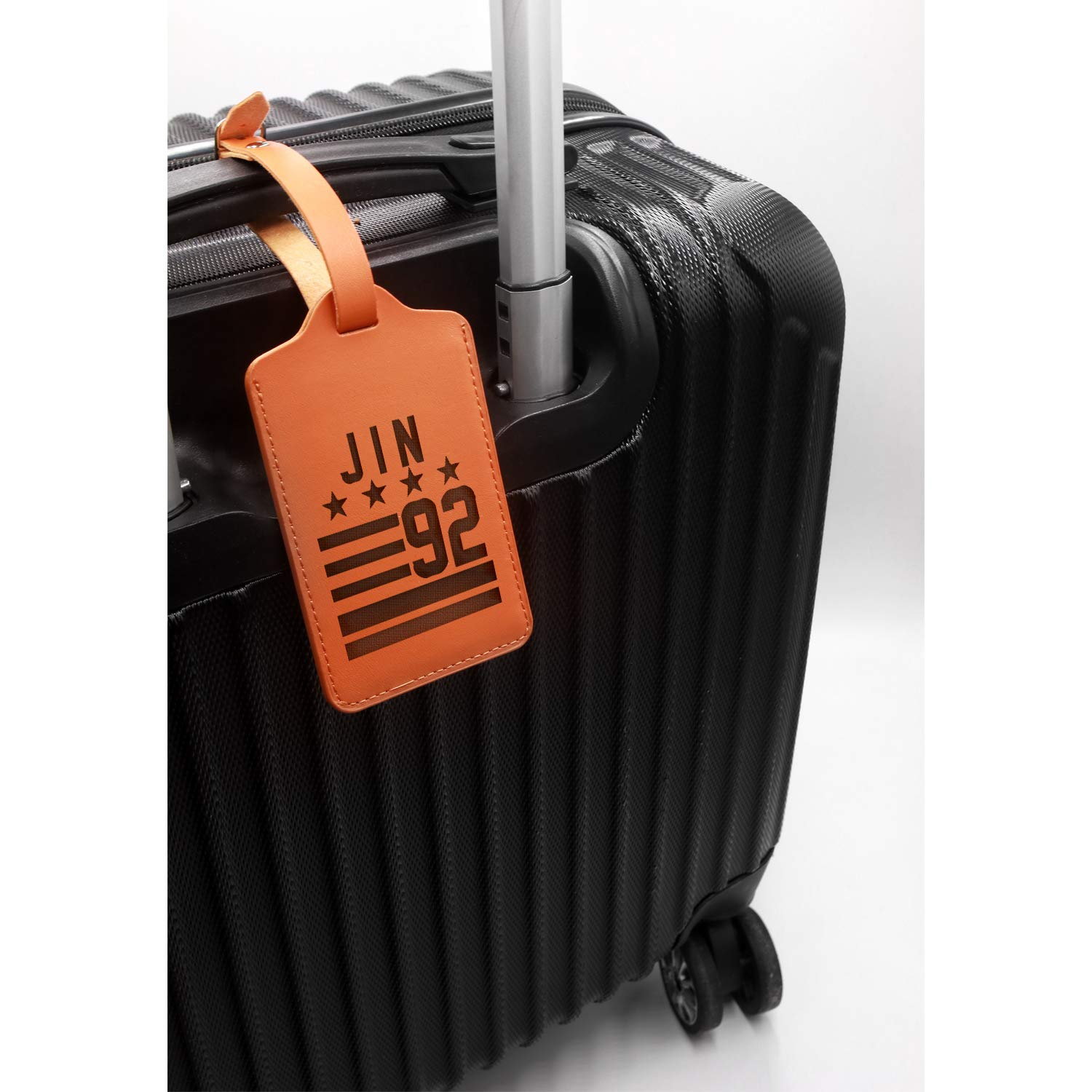 Handcrafted By Mastercraftsmen Hallyu Kpop Bts Jin 92 Engraved Synthetic Pu Leather Luggage Tag - United States Standard For Any Type Of Luggage London Tan - Set Of 2