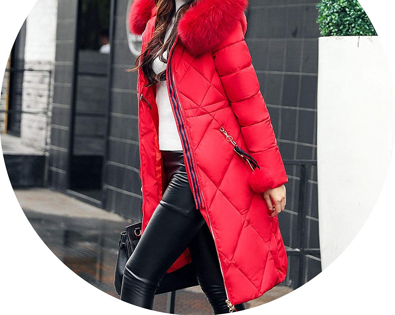 Big Fur Thickened Parka Women Slim Long Winter Coat Down Cotton Ladies Parka Jacket,Red,M,C