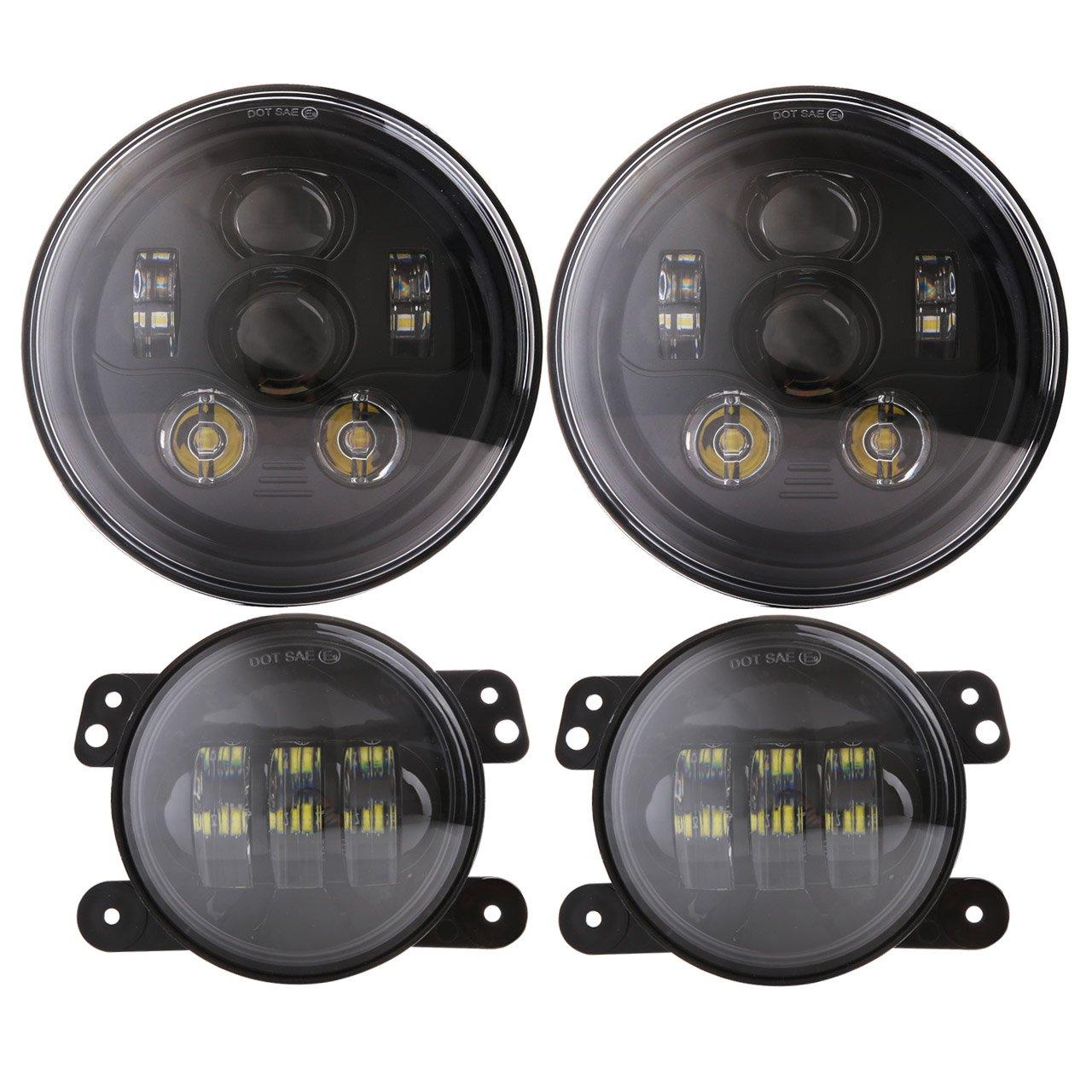 DOT Approved Angel Eyes White DRL Turn Signal 7 inch Round LED Headlight+4 inch Halo Ring LED Fog Lights for Jeep Wrangler 1997-2018 Unlimited JK LJ TJ 4 door 2 Door Driving Light JKOL