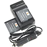 DSTE 2x DMW-BLH7 Battery + DC120 Travel and Car Charger Adapter for Panasonic Lumix DMC-GM1 GM1K GM5 GF7 GF7K DMC-LX10 DMC-LX15 Camera as DMW-BLH7E DMW-BLH7PP