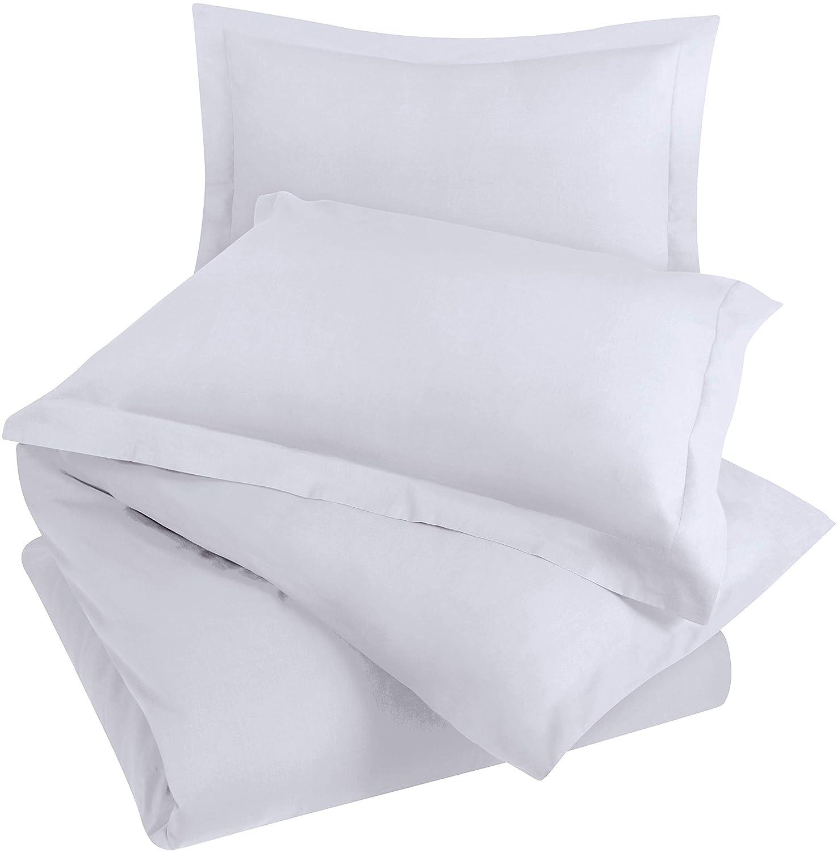 Utopia Bedding 3pc Duvet Cover with 2 Pillow Shams, (King White)