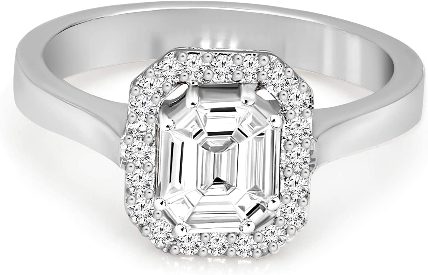 Mothers Day Gifts IGI Certified Natural Diamond Rings 14K White Gold 1/2 carat-5/8 carat 100% Real Diamond Pie Cut Halo Ring For Women (1/2 carat-5/8 CTTW, GH - SI1 Quality Gifts for Mom)