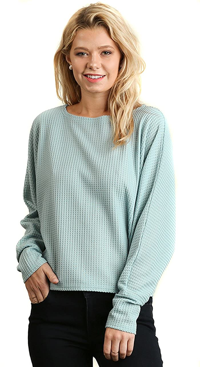 7c5d3472f85 UMGEE Women s Relaxed Thermal Stretch Knit Chic Long Sleeve Top Blouse  S   at Amazon Women s Clothing store