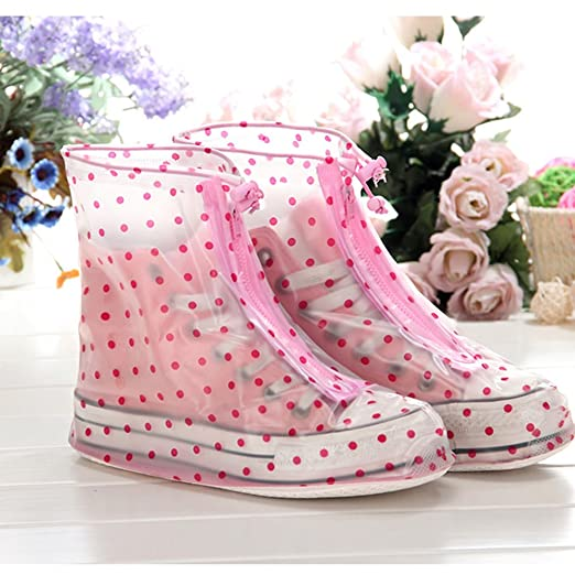 Vintage Style Boots Spritech(TM) Womens Waterproof Clear Rain Shoes Cover Reusable Boots Flat Overshoes Rain Gear Red Point XL $14.69 AT vintagedancer.com