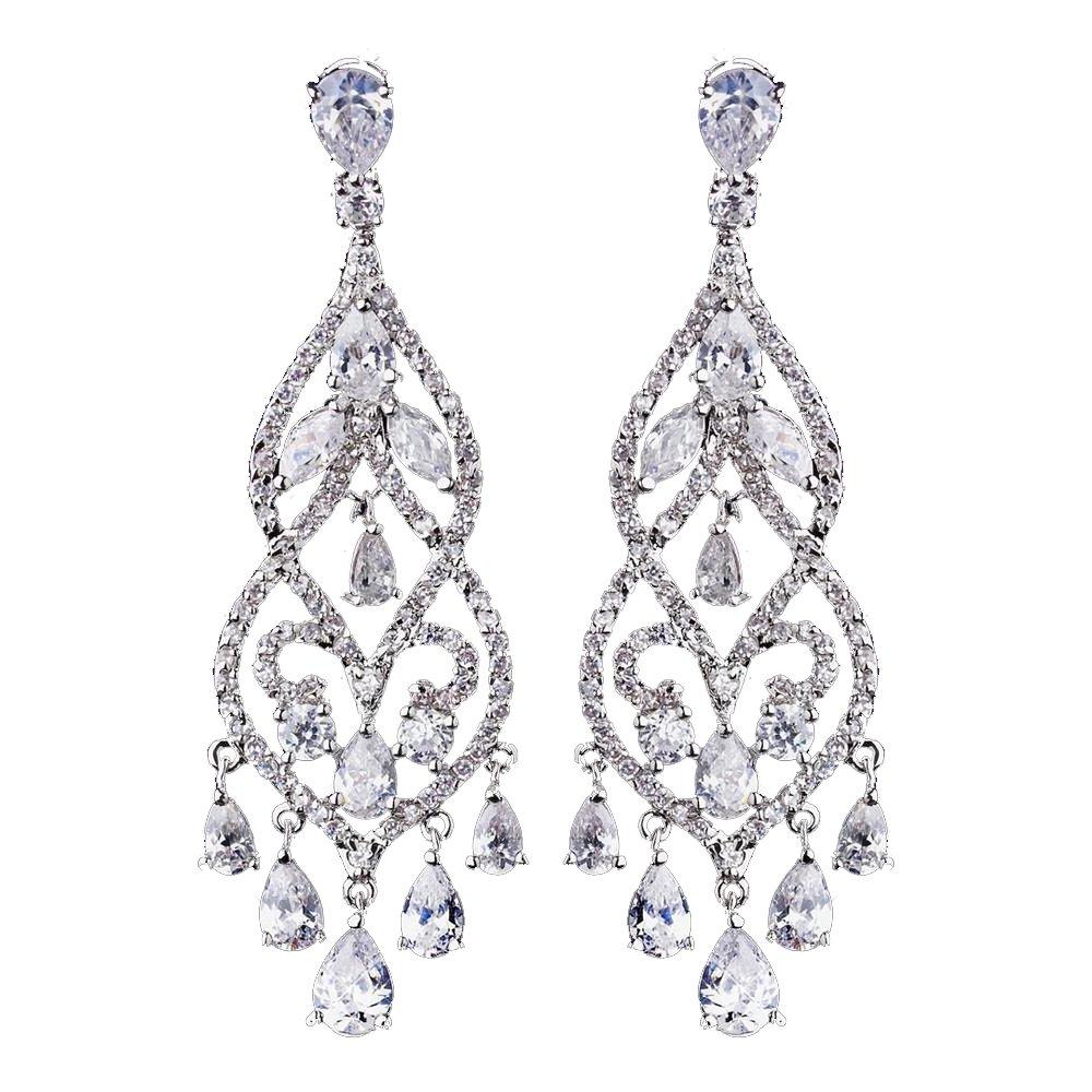 Rodeo Couture Bridal Rhodium Plated Rhinestone Chandelier Earrings, Clear CZ Crystal Earrings, Crystal Earrings, Bridal Earrings, Wedding Earrings, Prom Earrings, Dangle Earrings