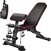Adjustable Weight Bench with Backrest,Strength Training Bench for Full Body Workout Foldable Incline Decline Exercise…