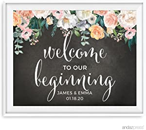 Andaz Press Peach Chalkboard Floral Garden Party Wedding Collection, Personalized Party Signs, Welcome to Our Beginning, 8.5x11-inch, 1-Pack, Custom Made Any Name