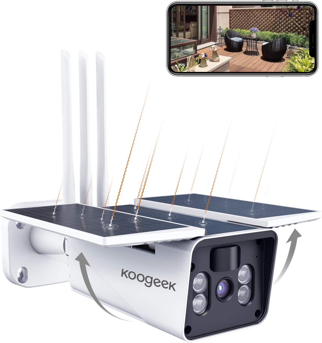 2021 Nueva Versión Koogeek Camara Vigilancia WiFi Exterior IP67,Camara de Vigilancia Exterior 1080P,Ángulo de Visión Amplio de 120°,Sin Cable,Detección de Movimiento,Alarma en Tiempo Real