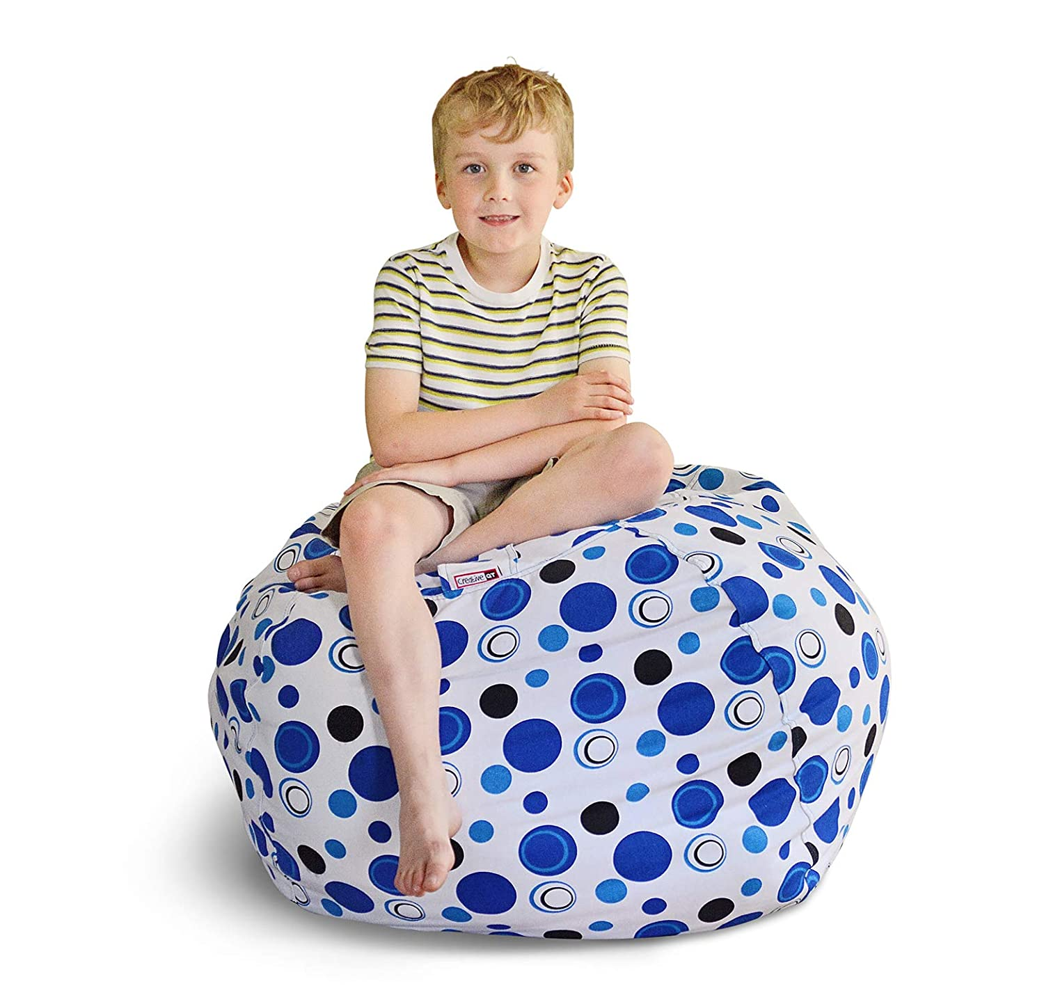 "Extra Large - Stuffed Animal Storage Bean Bag Chair - Premium Cotton Canvas - Clean Up The Room And Put Those Critters To Work For You! - By Creative Qt (38"", Blue Polka Dot)"