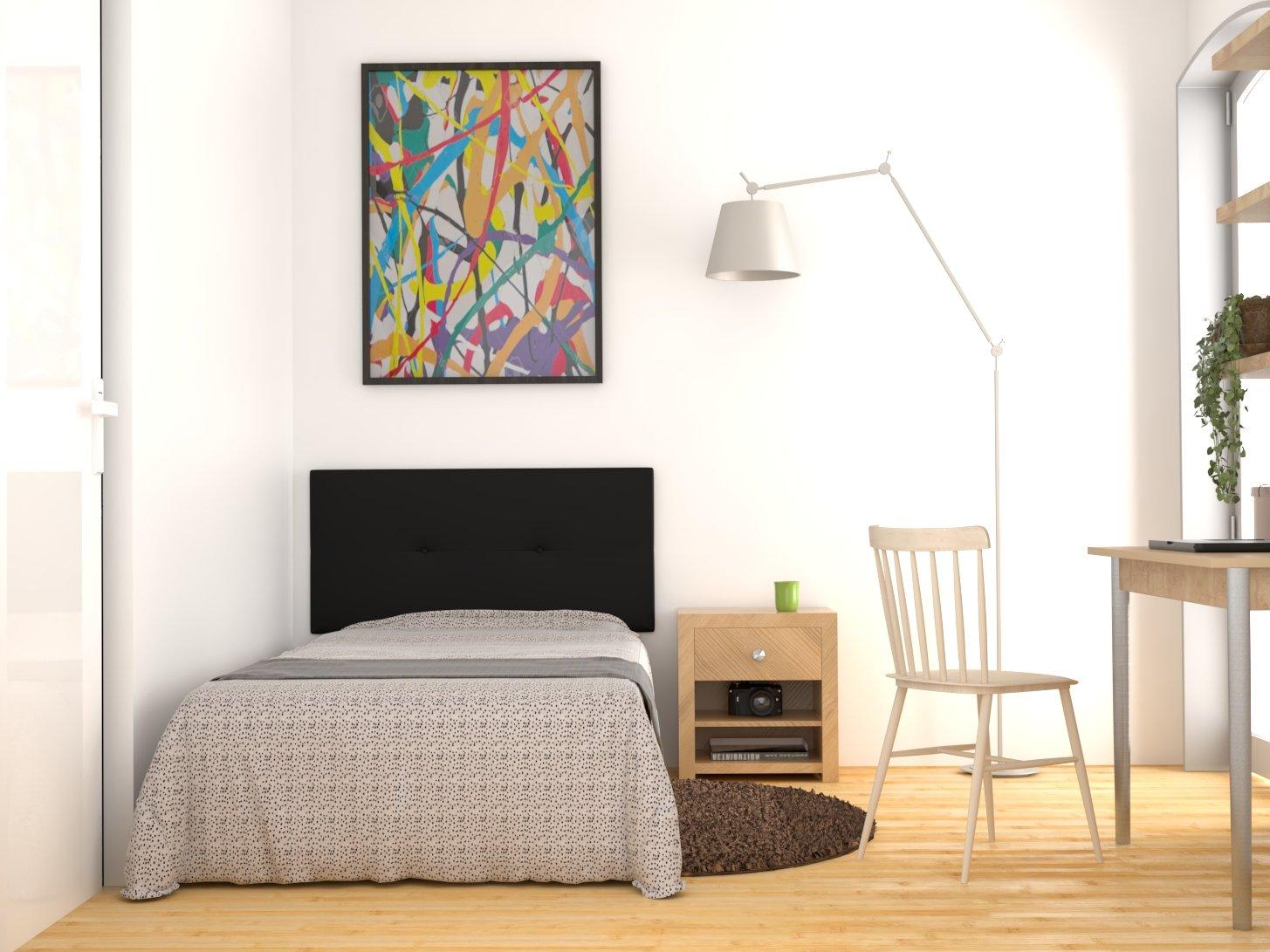LA WEB DEL COLCHON Cabecero de Cama tapizado Acolchado Julie 115 x 55 cms. para Camas de 80, 90 y 105 cms. Polipel Color Negro. Incluye herrajes para Colgar ...