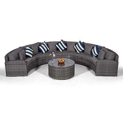 Set Giardino In Polyrattan.Giardino Riviera 6 Seater Grey Poly Rattan Effect Garden Furniture