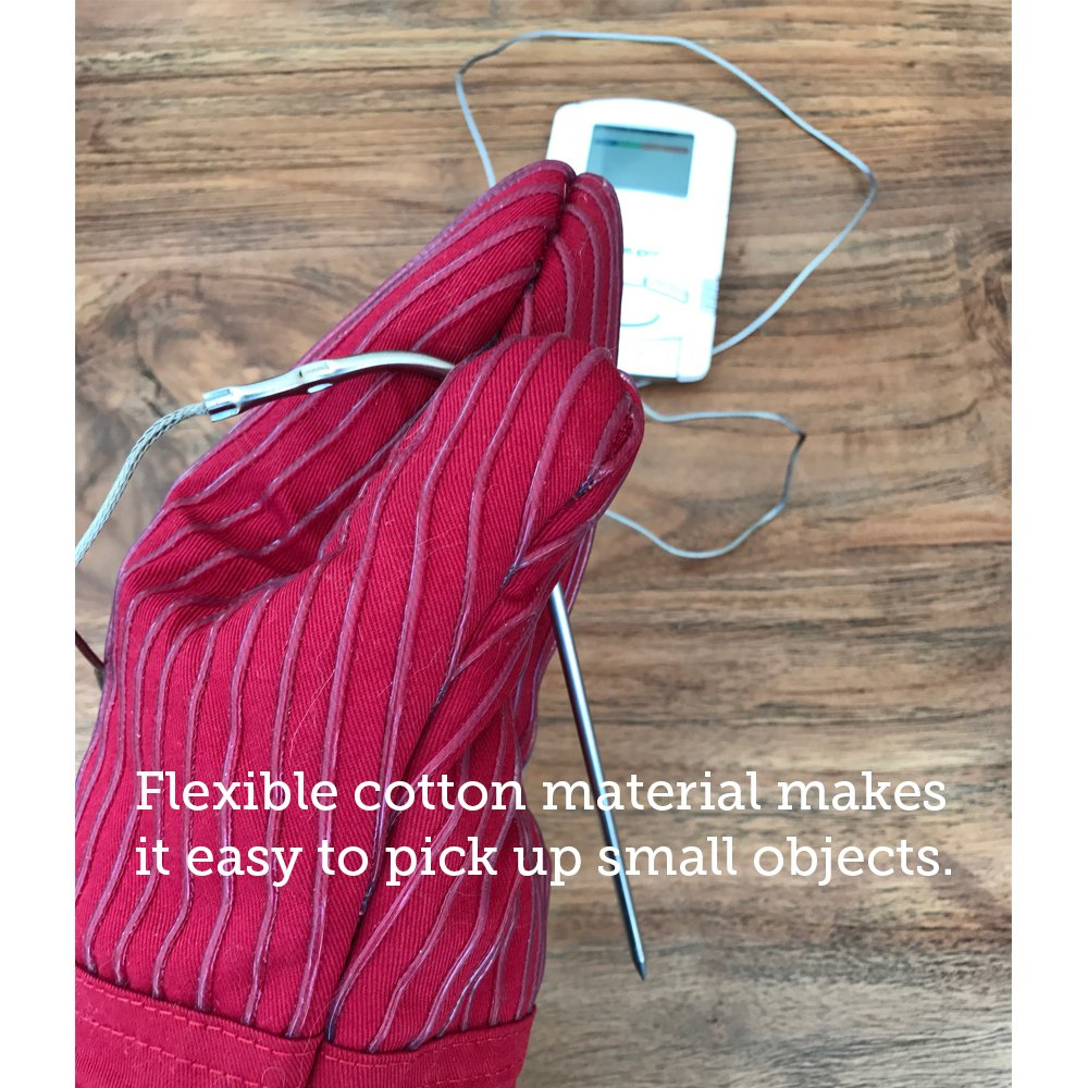 BIG RED HOUSE Oven Mitts, with the Heat Resistance of Silicone and Flexibility of Cotton, Recycled Cotton Infill, Terrycloth Lining, 480 F Heat Resistant Pair by BIG RED HOUSE (Image #5)