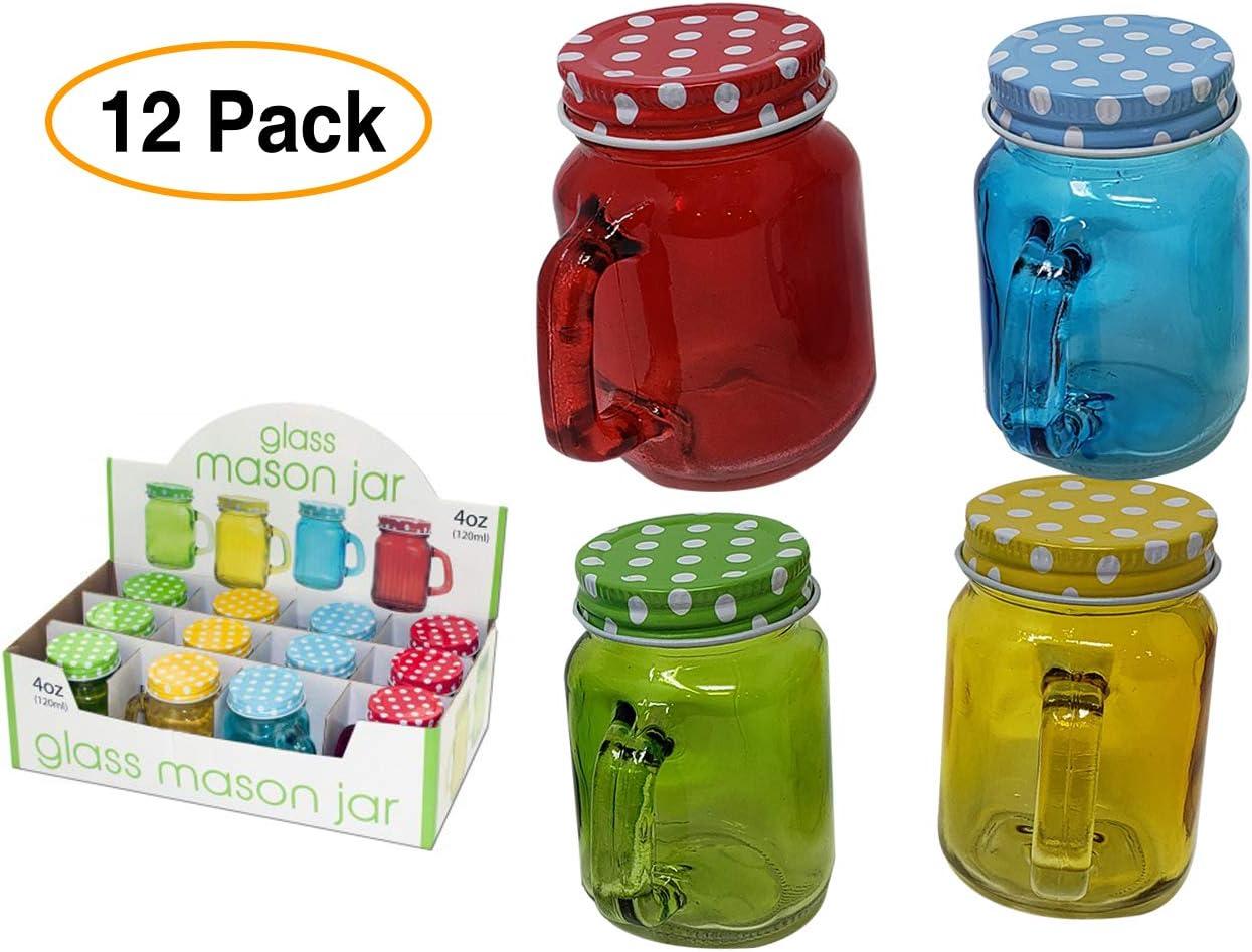 Mini tarros de Mason con tapas (4 oz) multicolor (12 unidades ...