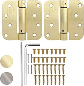 """Spring Loaded Hinges 4/"""" with 1//4/"""" radius corners Antique Brass"""