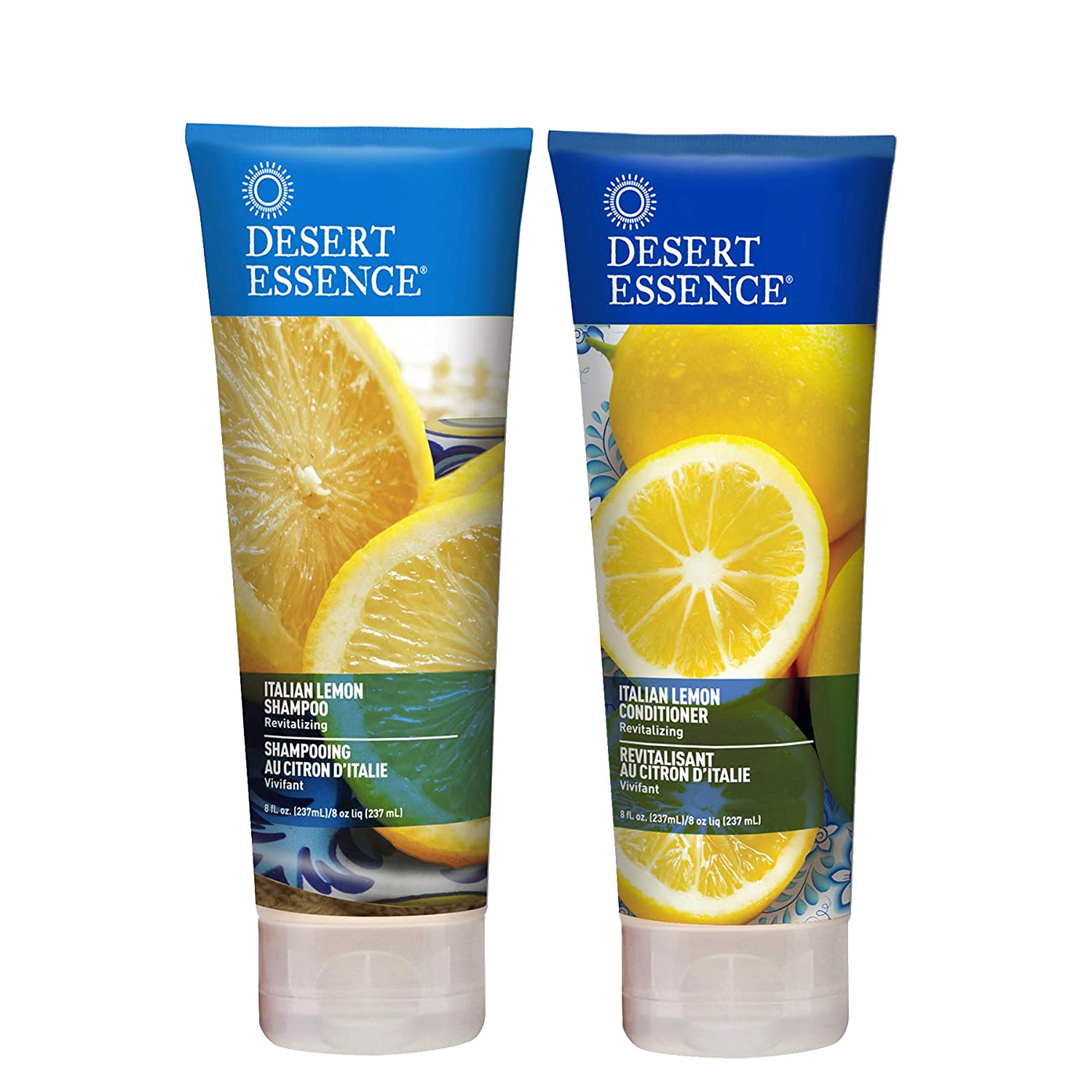 Desert Essence Italian Lemon Shampoo & Conditioner Bundle - 8 Fl Ounce - Revitalizing - Aloe Vera - Vitamin B5 - Adds Volume, Shine & Strength - Hair Detangler