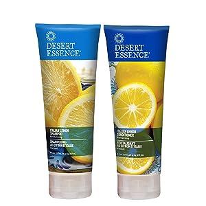 Desert Essence Italian Lemon Shampoo & Conditioner Bundle - 8 Fl Ounce - Revitalizing - Aloe Vera - Vitamin B5 - Adds Volume, Shine & Strength - Hair Detangler