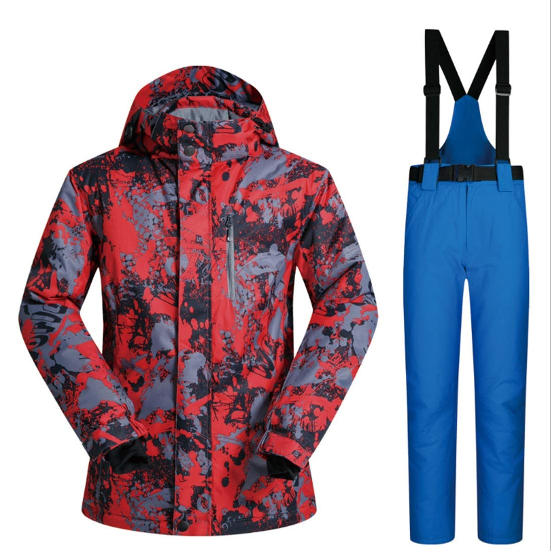 HOUYAZHAN Herren Mountain Waterproof Ski Jacket Windproof Regenjacke und Hose Set