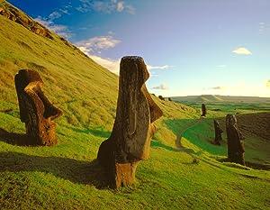 Posterazzi Fv1069 Dave Nunuk Profile Of Head Monuments At Dusk At Easter Island Chile Moai At Rano Raraku Poster Print, (17 x 13)