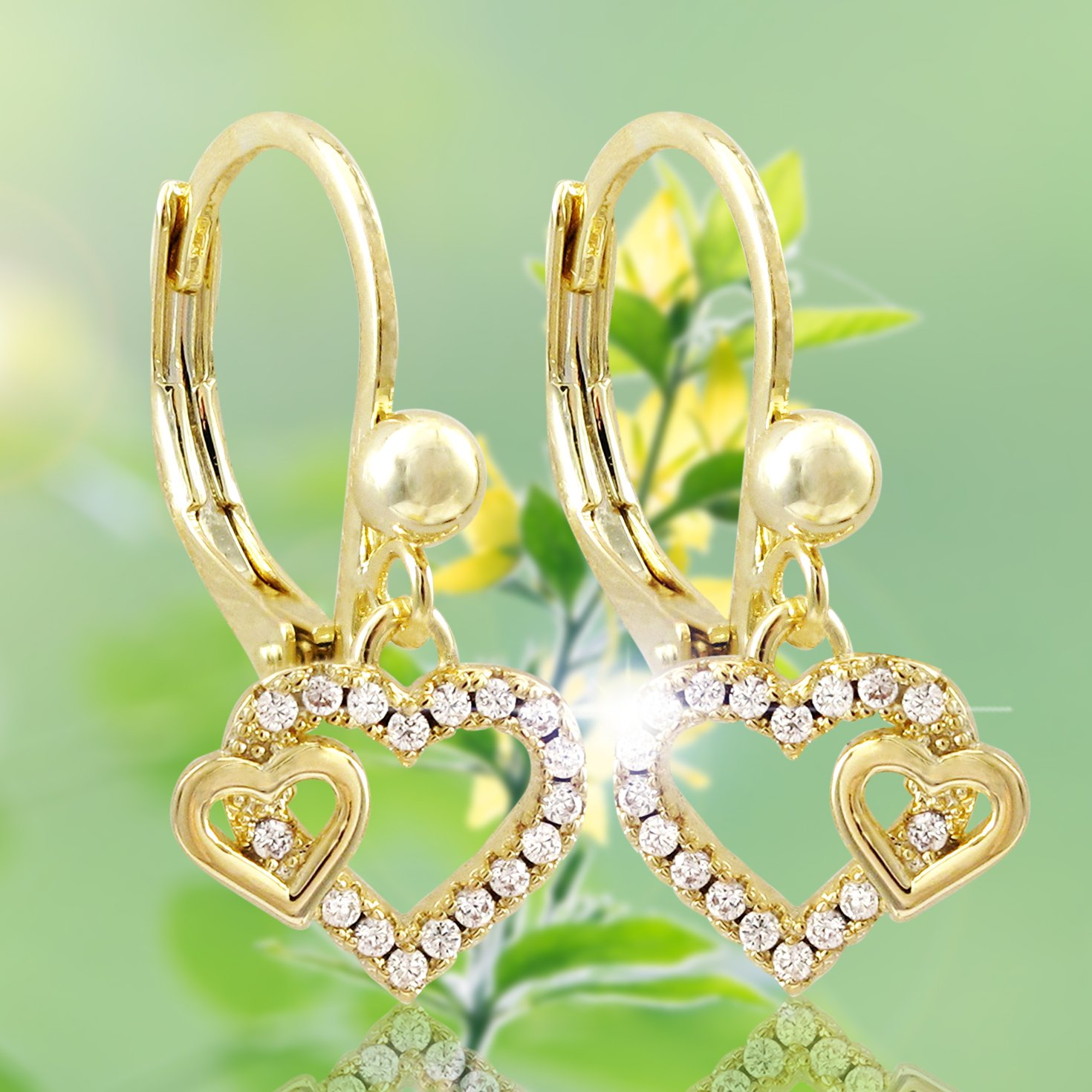Ivy and Max Gold Finish Pave Cubic Zirconia Childrens Dangling Double Heart Earrings