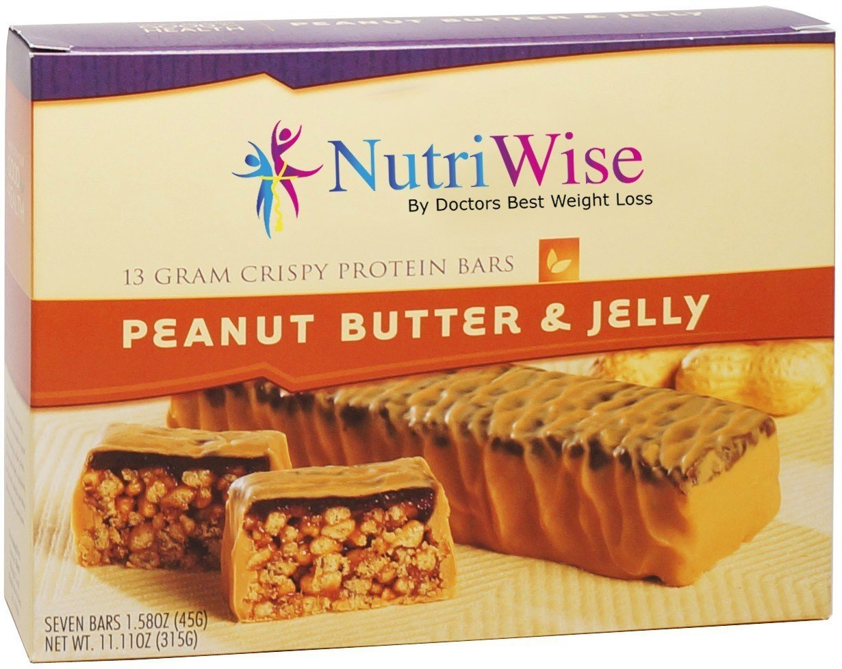 NutriWise - Crispy Peanut Butter & Jelly Bars | Gluten Free Diet Nutrition Snack | High Protein, Low Fat, Cholesterol Free (7/box)