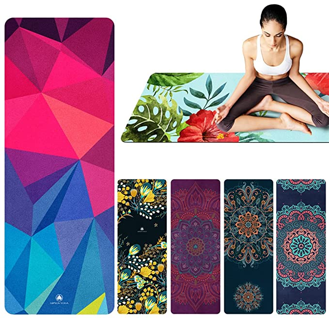Perfecta Yoga Mat Toalla 1 mm de grosor con libre botella de ...