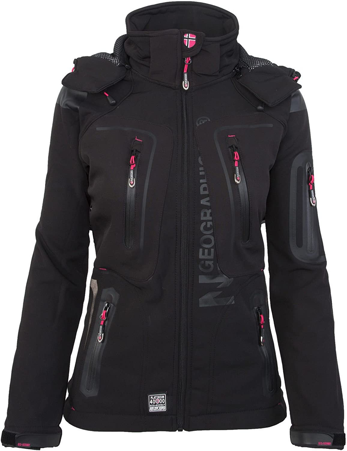 Geographical Norway-Chaqueta multifunción softshell impermeable para mujer negro X-Large