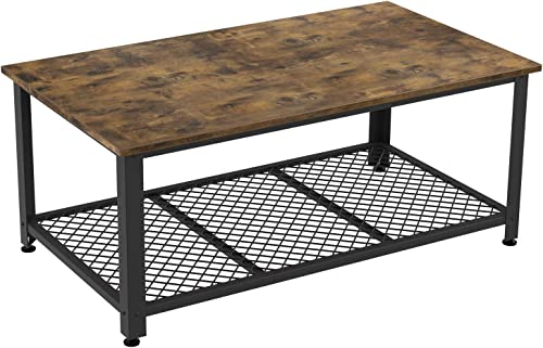 IRONCK Industrial Coffee Table for Living Room, Tea Table with Storage Shelf, Wood Look Accent Furniture with Metal Frame, Easy Assembly, Rustic Home Decor, Vintage Brown