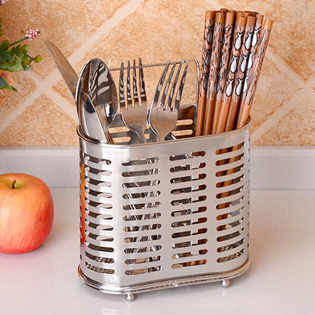 Topbeu Utensil Drying Basket Kitchen Storage Holder, Stainless Steel, 2 Compartments