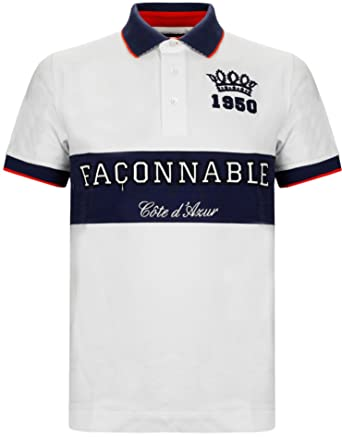 f34dadb92b0 Faconnable - T-shirt - - Col polo - Manches courtes Homme - Blanc ...