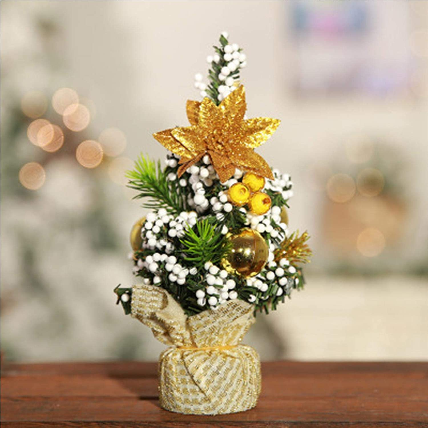 Mini Xmas Pine Tree with Decorations Artificial Christmas Tree Warm Yellow Led Lights Indoor Decorative Mini Xmas Tree for Christmas, Home, Kitchen, Dining Table Decor 20cm Mini