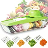 5-in-1 Mandoline Vegetable Slicer, Julienne Cutter, Potato Chopper, Cheese Grater, Kitchen Slicing Tool with 5 Interchangeable Stainless Steel Blades and Food Storage Container