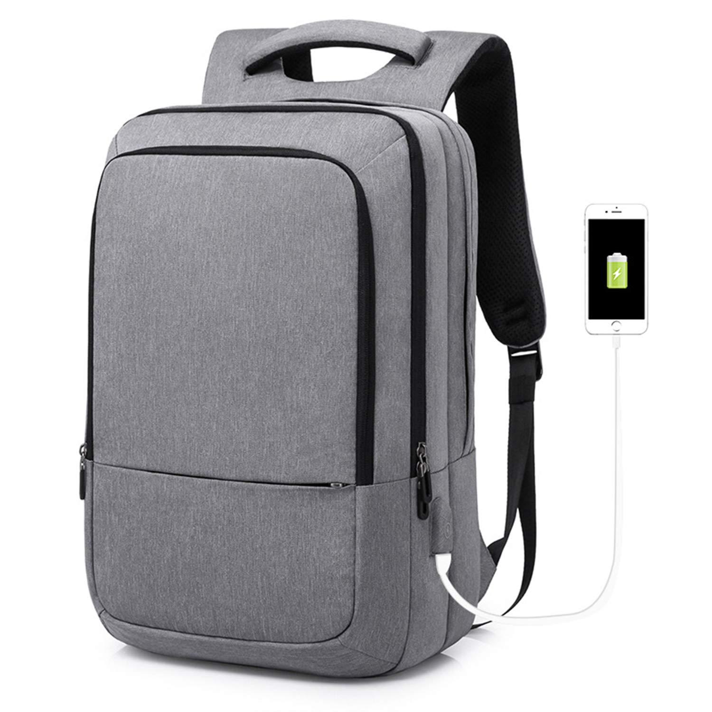 ノートパソコンのバックパック ビジネス レジャーバッグ USB充電ポート付き レディーコンピュータバックパック 大容量バックパック メンズトラベルバックパック  Gray B07H2V6JVR