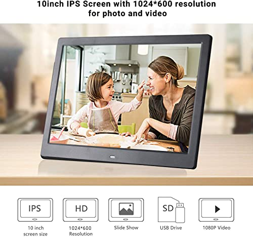Digital Photo Frame 32GB SD Card 10 Inch 1024×600 High Resolution IPS Display Digital Picture Frames Auto-Rotate Image Preview Background Music Video Calendar with Remote Control