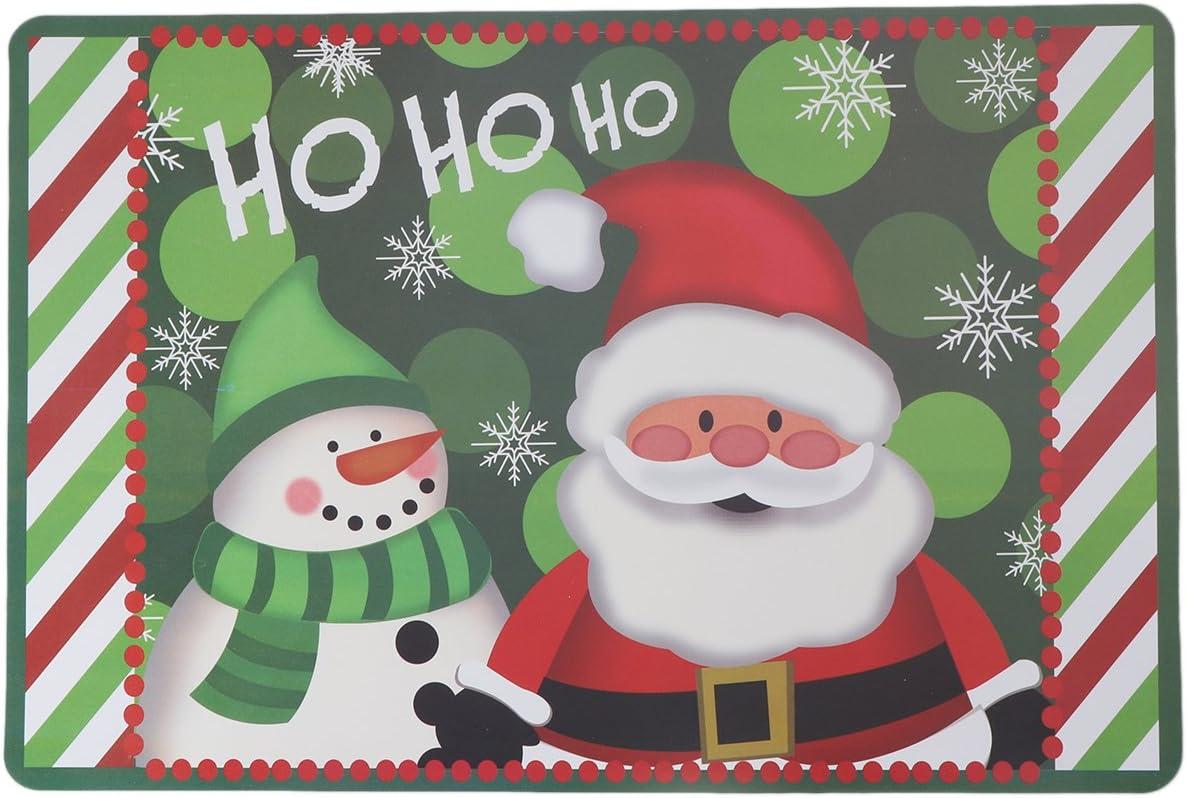 BESTOYARD 6 Pairs Christmas Coasters Placemats Waterproof PVC Snowman Santa Claus Placemats Table Mats Cup Mat Christmas Decoration (Green)