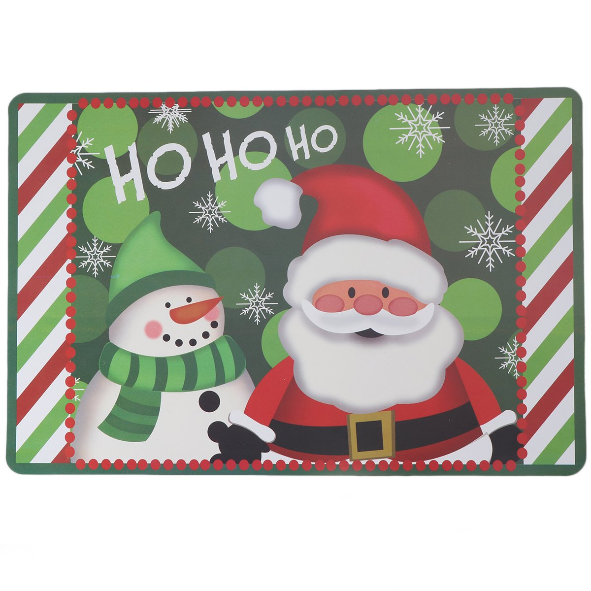 BESTOYARD 6 Pairs Christmas Coasters Placemats Waterproof PVC Snowman Santa Claus Placemats Table Mats Cup Mat Christmas Decoration (Green)