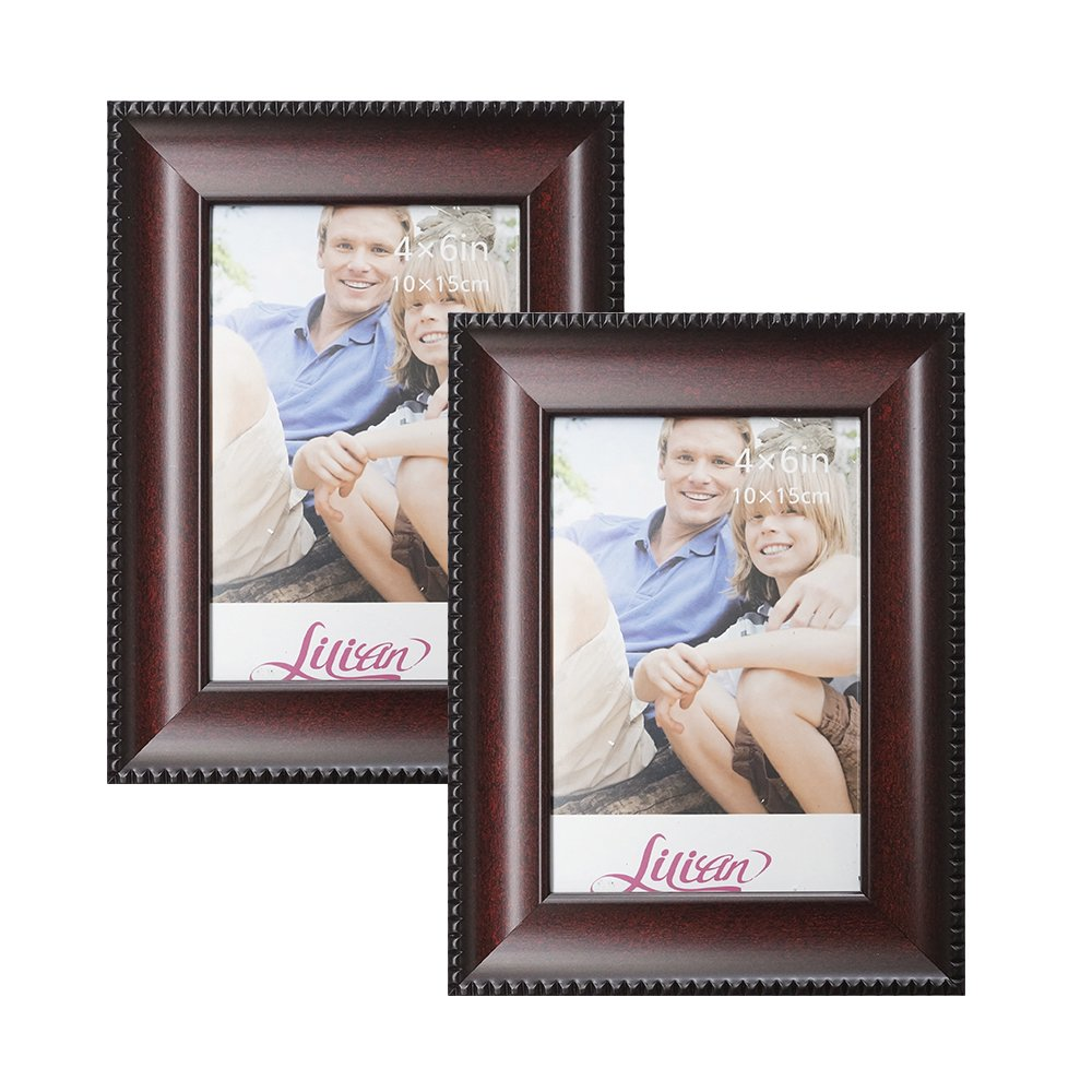 Lilian Wood-like Burgundy with Thin Pattern Display 5x7 Desk/Wall Photo Frame - Wall Mounting Material Included(2-Pack)