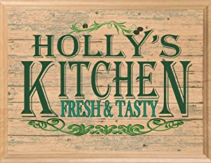 Broad Bay Personalized Name Kitchen Sign Rustic Wall Art Country Décor Custom Wood Gift for Her or Him