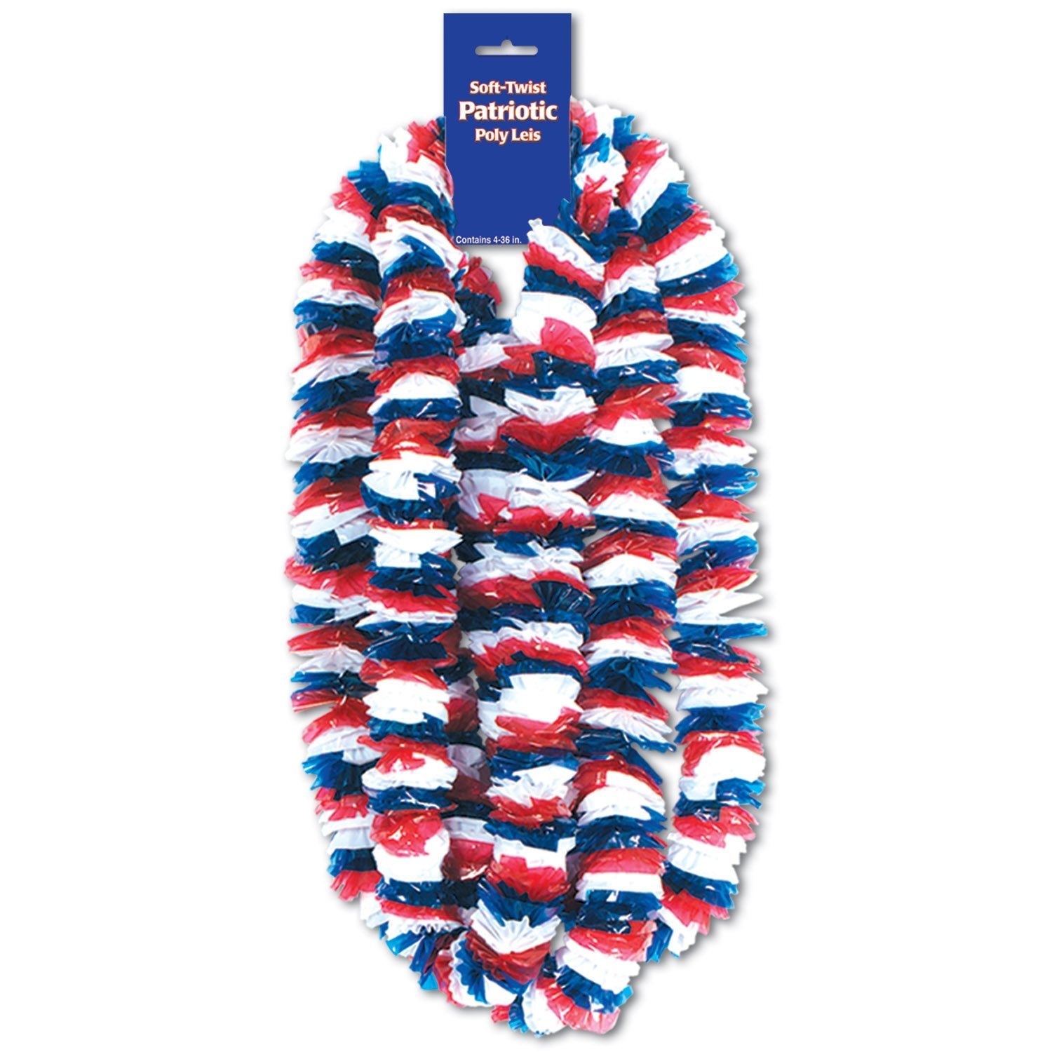 Beistle 66367-4PK 48-Pack Soft-Twist Patriotic Poly Leis Party Decor, 2-Inch by 36-Inch by Beistle