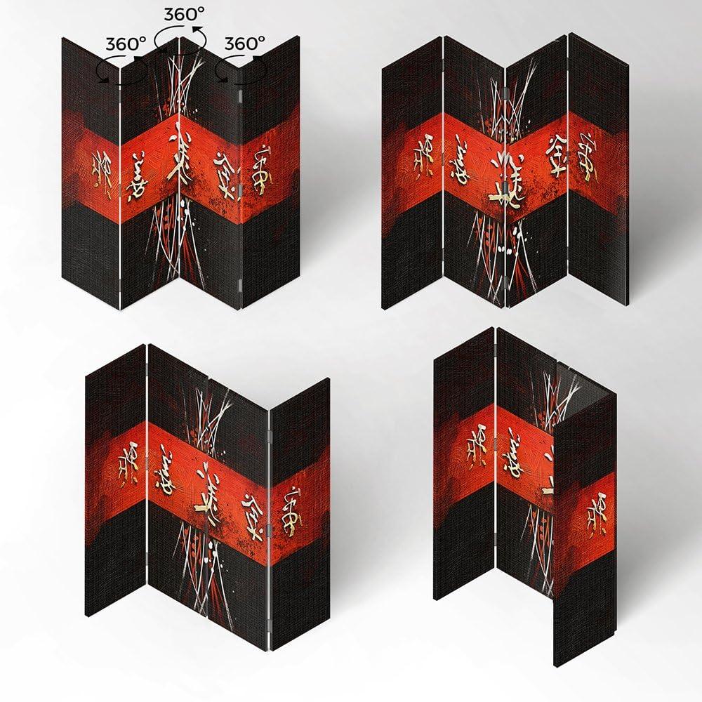 110x150 cm Nero bilaterale Rosso Feeby Frames Il paravento Stampato su Telo,Il divisorio Decorativo per Locali Scrittura Giapponese a 3 Parti
