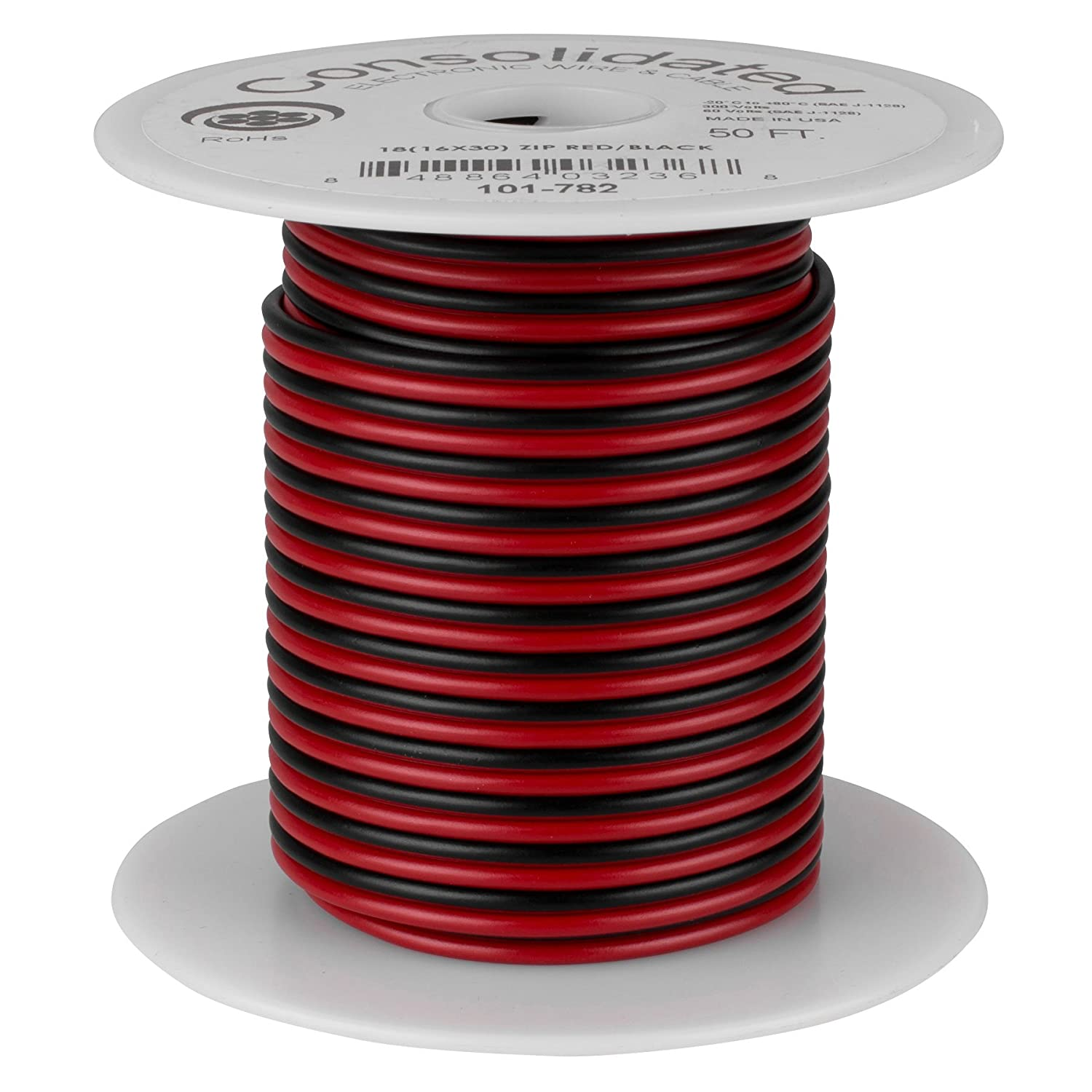 Red//Black Consolidated 18 AWG 2-conductor Power Speaker Wire 50 ft.