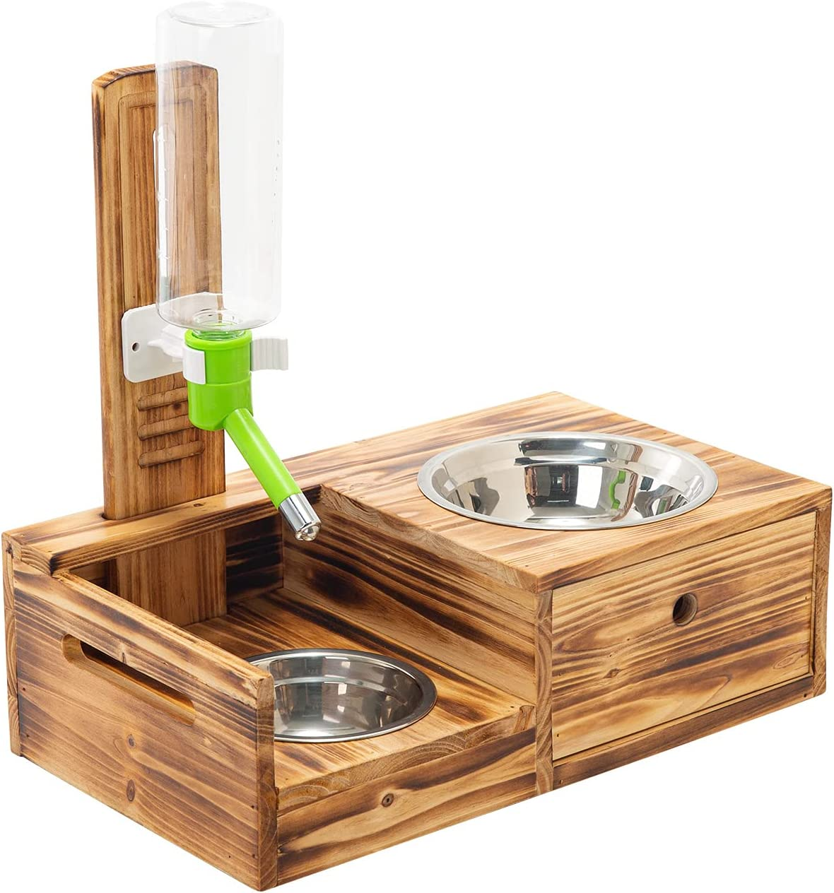 RLRICH Raised Pet Bowls for Cats and Dogs,Wood Elevated Dog Cat Food and Water Bowls Stand Feeder with 2 Stainless Steel Bowls and Water Bottle,Pet Feeder with Storage Drawer