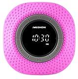 MEDION LIFE E66554 MD 43554 Duschradio mit Bluetooth, 20 Watt, PLL UKW, IPX7, eingebauter Akku, pink
