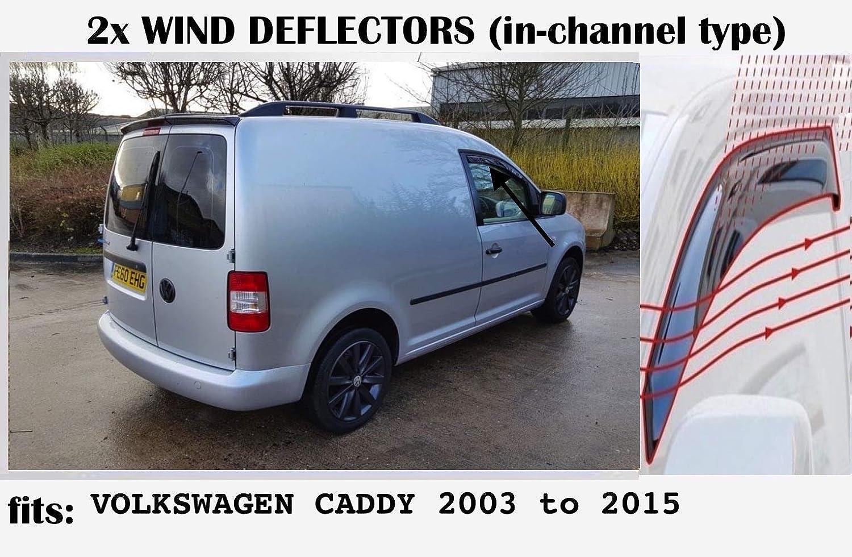 2003 2004 2005 2006 2007 2008 2009 2010 2011 2012 2013 2014 2015 Acrylic Glass Side Visors type 2K Set Of 2 Wind Deflectors IN-CHANNEL Type Compatible with VOLKSWAGEN CADDY VW window deflectors