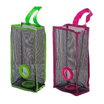 PenGreat - Dispensador de bolsas de almacenamiento portátil de malla para reciclaje, para colgar en la cocina, de plástico, Green+rose Red, talla única: ...