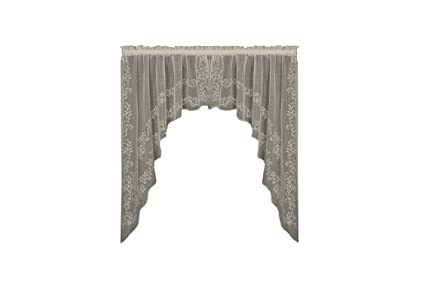 Heritage Lace Sheer Divine Swag Pair, 80 by 46-Inch, White