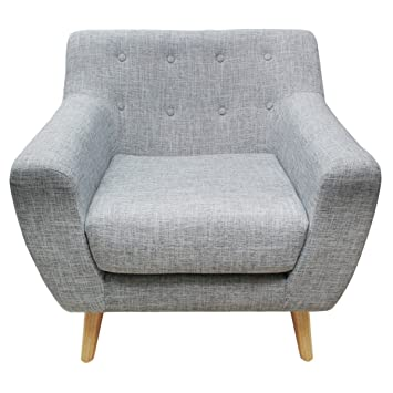 WarmieHomy Linen Fabric Tub Chair Armchair Button Accent Chair ...