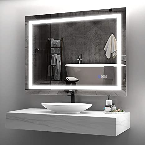 Amazon Com Anten 36x28 Inch Bathroom Led Mirror Horizontal Vertical Bathroom Mirror With Lights Dimmable Touch Switch Anti Fog Modern Bathroom Mirrors For Wall Home Kitchen