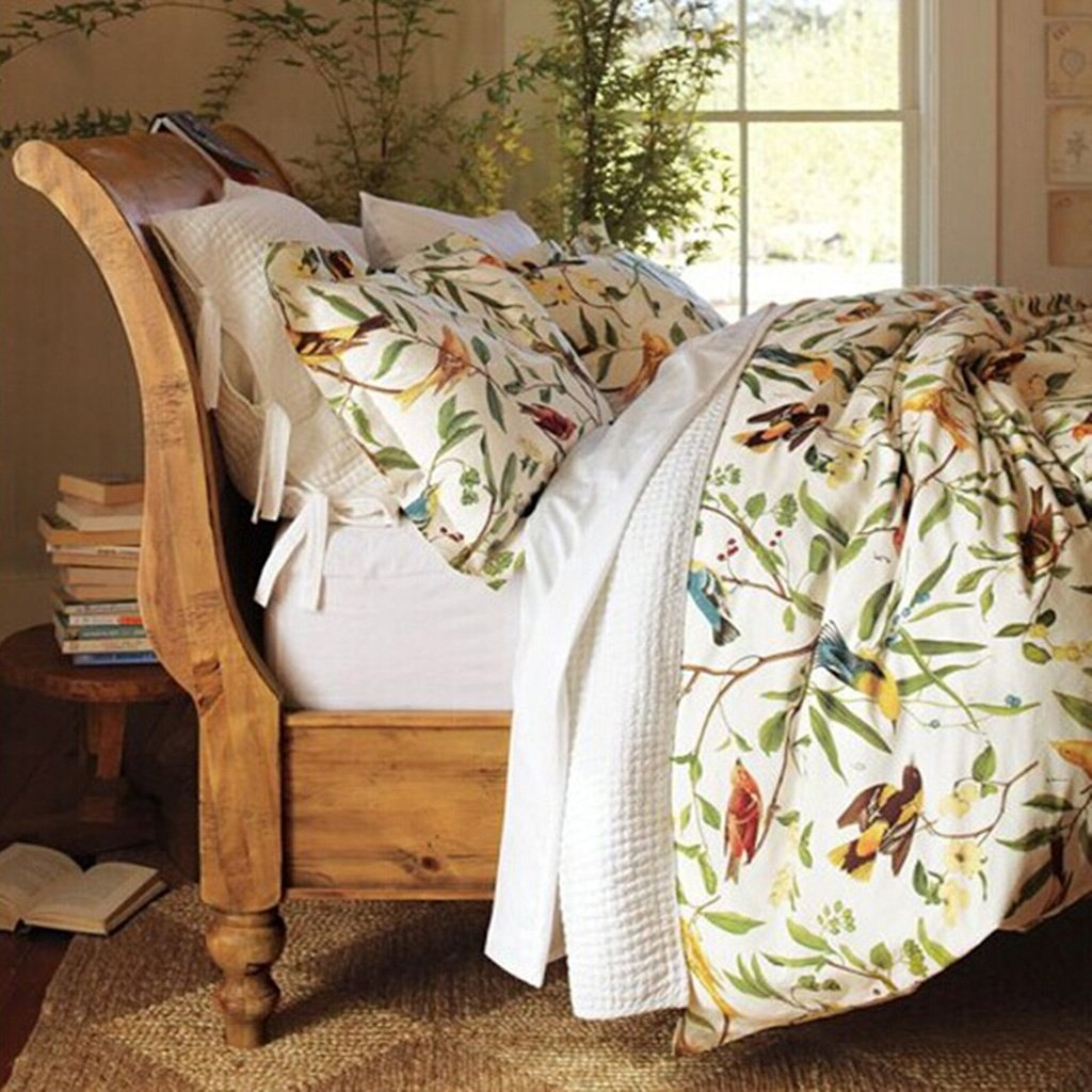 MeMoreCool Home Textile American Country Style 100% Cotton Reactive Printing High-grade 4 Pieces Bedding Set Lively Spring Birds Design Quilt Covers Soft Bed Sheets Queen Size
